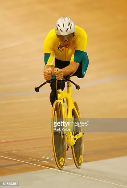 Michael Milton of Australia competes in the men's 1km time trial during the Track Cycling event at Laoshan Velodrome during day one of the Paralympic...
