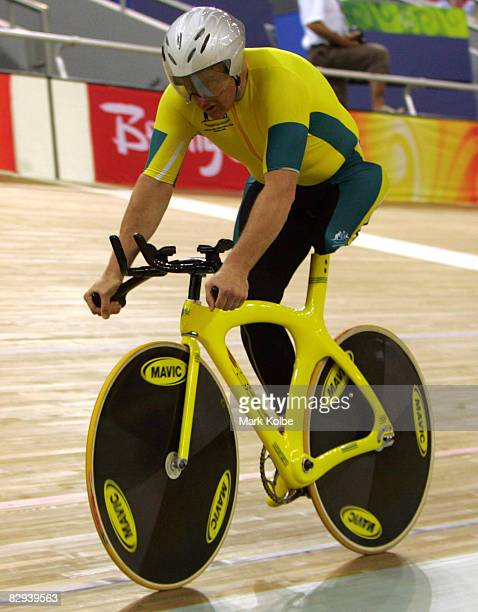 Michael Milton of Australia competes in the Men's 1km Time Trial Track Cycling event at Laoshan Velodrome during day one of the 2008 Paralympic Games...