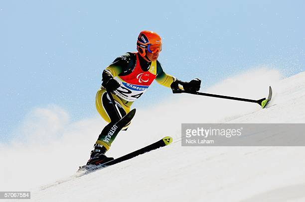 Michael Milton of Australia competes in the Men's Super G Standing during Day Three of the Turin 2006 Winter Paralympic Games on March 13 2006 in...