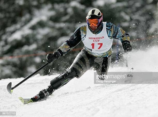 Michael Milton of Australia takes his first run as he finished third in the Men's Standing Slalom Event at the Disabled Alpine Skiing Meridian Cup on...