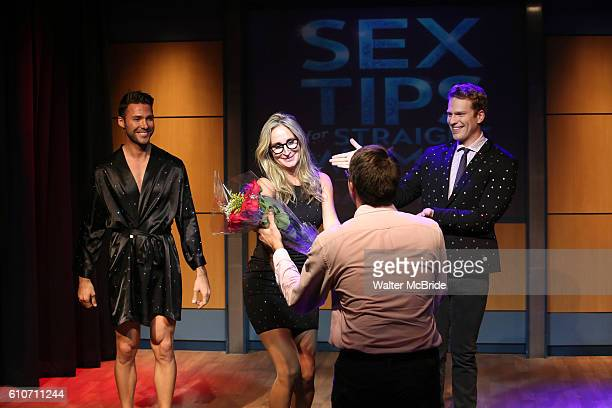 Michael Milton Sonja Morgan and Grant MacDermott in a scene from 'Sex Tips for Straight Women from a Gay Man' at 777 Theater on September 27 2016 in...