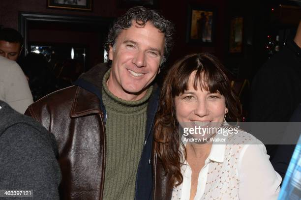 Michael Mimeles and Robin Bronk CEO of The Creative Coalition attend The Creative Coalition celebration of the launch of Big Air Studios presented by...