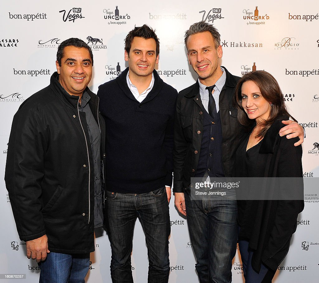 Michael Mina, guest, Adam Rapoport and Pamela Drucker Mann (L-R) attend the Exclusive Preview of the 2013 Vegas Uncork'd By Bon Appetit at One Kearny Street on February 6, 2013 in San Francisco, California.