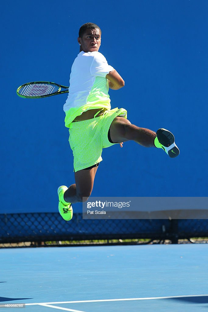 Michael Mmoh of the United States in action in his match against Sumit Nagal of India during the Australian Open 2015 Junior Championships at Melbourne Park on January 24, 2015 in Melbourne, Australia.