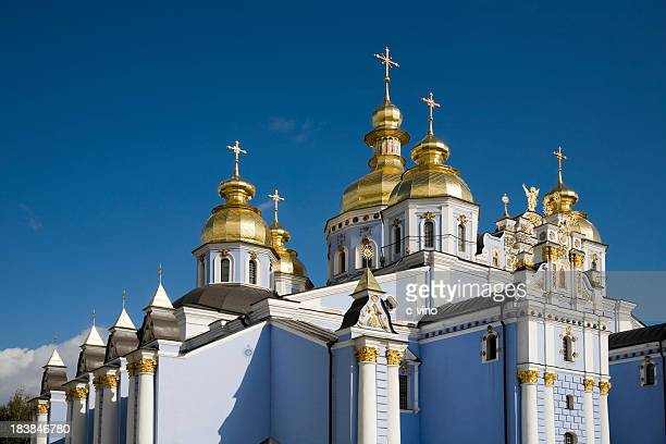 michael monastery in kiev - ukrainian angel stockfoto's en -beelden