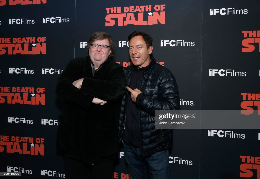 Michael Moore and Jason Isaacs attend 'The Death Of Stalin' New York premiere at AMC Lincoln Square Theater on March 8, 2018 in New York City.