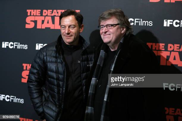 Michael Moore and Jason Isaacs attend 'The Death Of Stalin' New York premiere at AMC Lincoln Square Theater on March 8 2018 in New York City