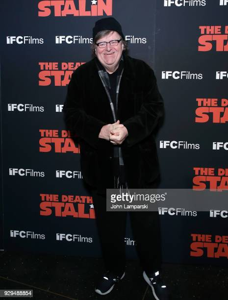 Michael Moore attends 'The Death Of Stalin' New York premiere at AMC Lincoln Square Theater on March 8 2018 in New York City