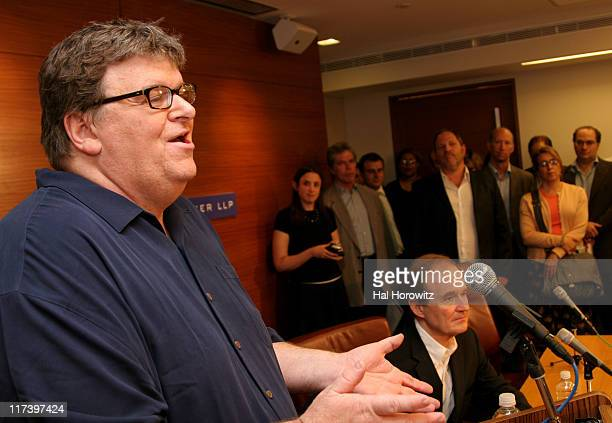 Michael Moore David Boies and Harvey Weinstein during Michael Moore Press Conference June 11 2007 at Boies Schiller and Flexner Offices in New York...