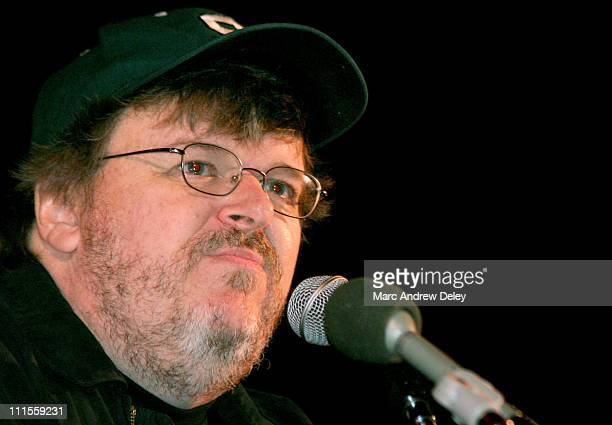 Michael Moore during 2004 Democratic National Convention Day 2 AFSCME Screening of Michael Moore's Fahrenheit 9/11 at Coolidge Corner Theater in...