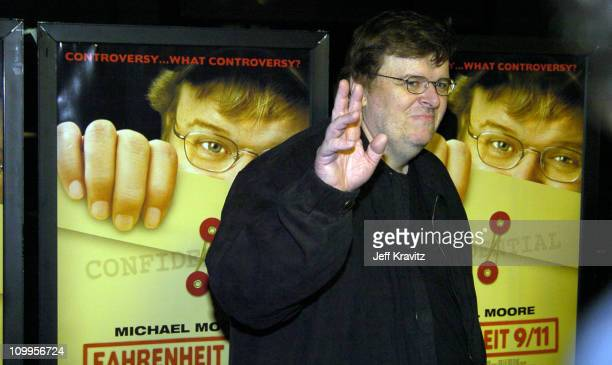 Michael Moore during Fahrenheit 9/11 Late Show Screening at Music Hall Theater in Los Angeles California United States