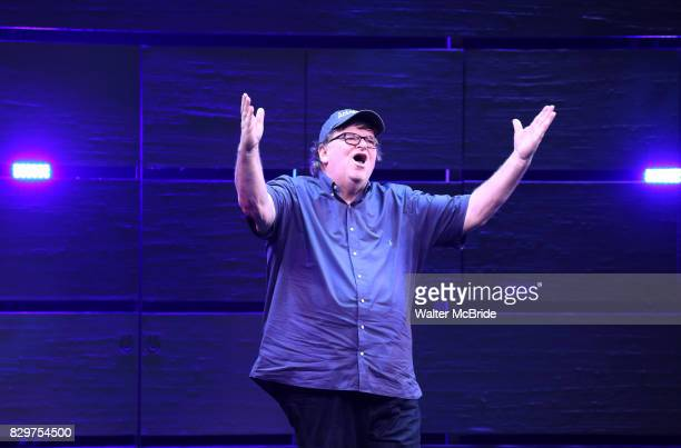 Michael Moore during the curtain call for the Broadway Opening Night of 'The Terms of My Surrender' at the Belasco Theatre on August 10 2017 in New...