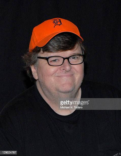 """Michael Moore promotes the new book """"Here Comes Trouble"""" at Bookends Bookstore on October 10, 2011 in Ridgewood, New Jersey."""