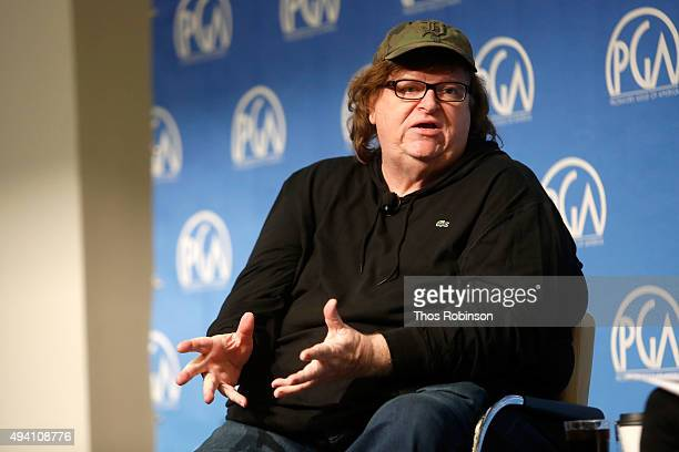 Michael Moore speaks during the PGA Produced By New York Conference at Time Warner Center on October 24 2015 in New York City