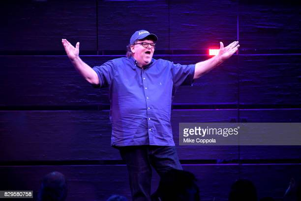 Michael Moore speaks onstage during 'The Terms Of My Surrender' Broadway Opening Night at Belasco Theatre on August 10 2017 in New York City
