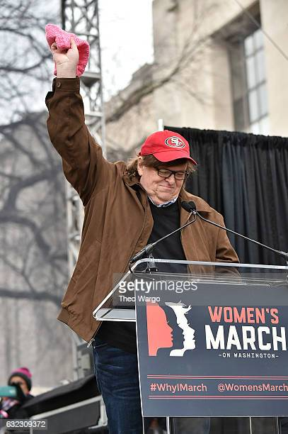 Michael Moore speaks onstage during the Women's March on Washington on January 21 2017 in Washington DC