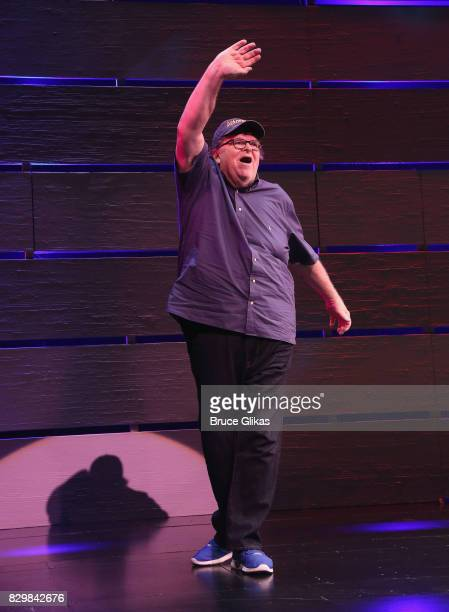 Michael Moore takes his Opening Night bow for 'Michael Moore 'The Terms Of My Surrender' on Broadway at The Belasco Theatre on August 10 2017 in New...