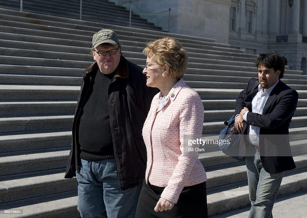 Michael Moore tapes an interview with Rep. Marcy Kaptur, D-Ohio, at the foot of the steps to the House chamber on the East Front of the Capitol on Monday, March 30, 2009.