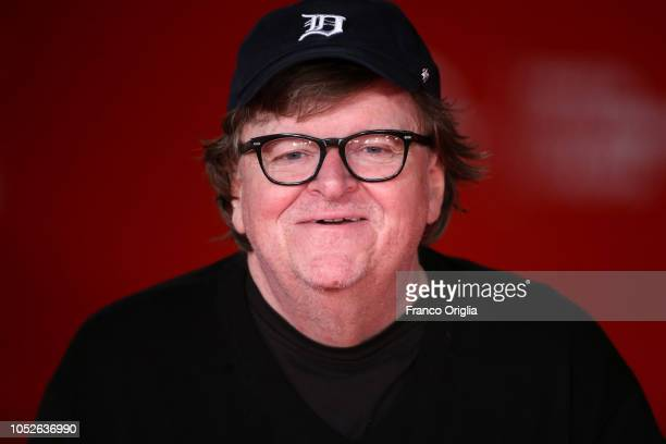 Michael Moore walks the red carpet ahead of the 'Fahreneit 11/9' screening during the 13th Rome Film Fest at Auditorium Parco Della Musica on October...