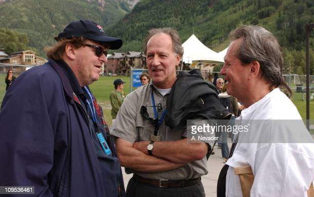 Michael Moore Werner Herzog and Terry Gilliam during 2002 Telluride Film Festival Michael Moore at the 'Bowling for Columbine' Premiere at Telluride...
