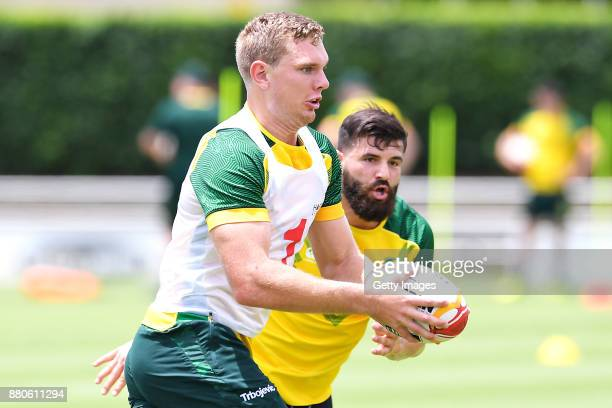 Michael Morgan in action during the Australian Kangaroos Rugby League World Cup training session at Langlands Park on November 28 2017 in Brisbane...