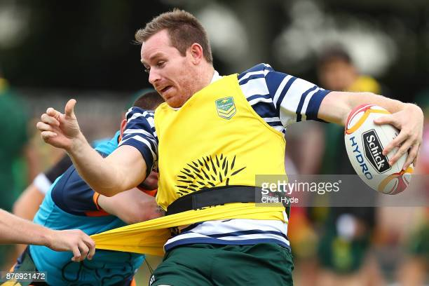 Michael Morgan is tackled during an Australian Kangaroos Rugby League World Cup training session at Langlands Park on November 21 2017 in Brisbane...