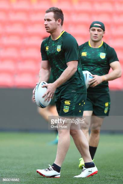 Michael Morgan kicks during an Australian Kangaroos Rugby League World Cup training session at Suncorp Stadium on October 11 2017 in Brisbane...