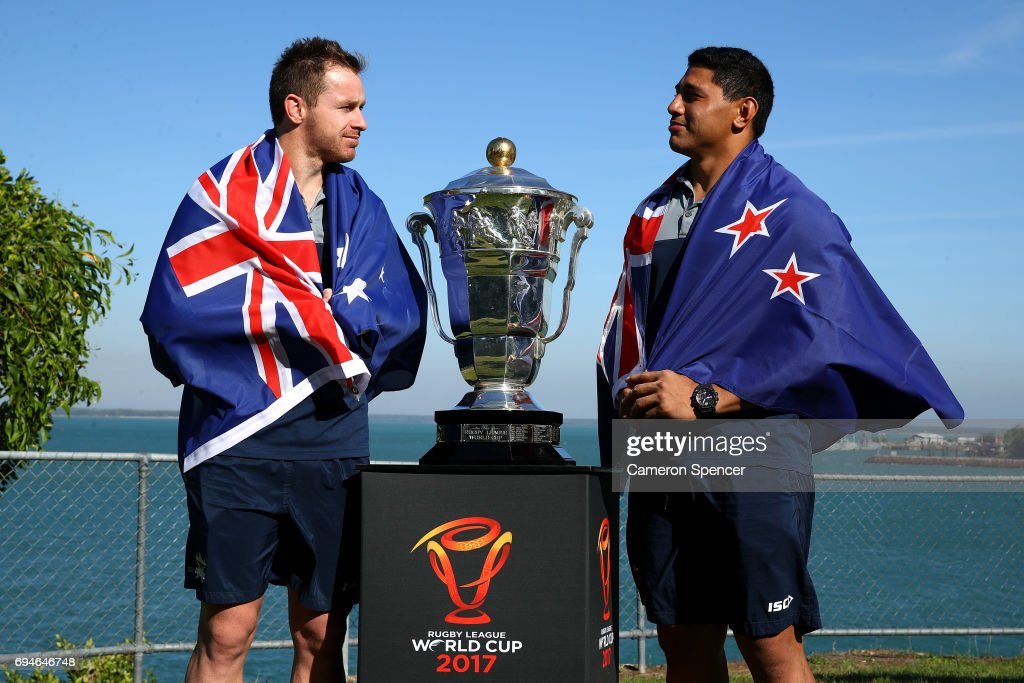 Michael Morgan of Australia and Jason Taumalolo of New Zealand pose with the Rugby League World Cup during a 2017 Rugby League World Cup Media Opportunity on June 11, 2017 in Darwin, Australia.