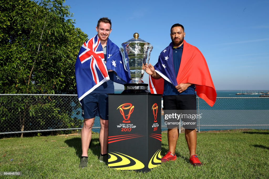 Michael Morgan of Australia and Suaia Matagi of Samoa pose with the Rugby League World Cup during a 2017 Rugby League World Cup Media Opportunity on June 11, 2017 in Darwin, Australia.