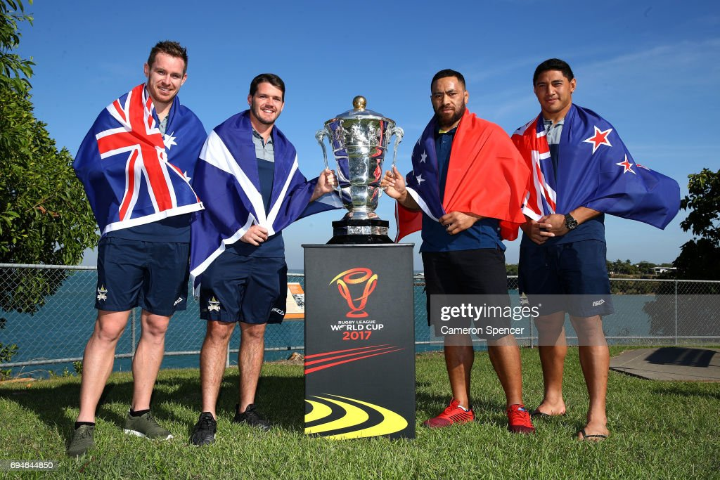 Michael Morgan of Australia, Lachlan Coote of Scotland, Jason Taumalolo of New Zealand and Suaia Matagi of Samoa pose with the Rugby League World Cup during a 2017 Rugby League World Cup Media Opportunity on June 11, 2017 in Darwin, Australia.