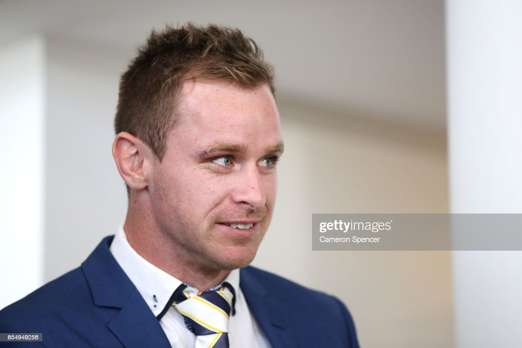 Michael Morgan of the Cowboys arrives at the NRL Grand Final press conference at Luna Park on September 28, 2017 in Sydney, Australia.