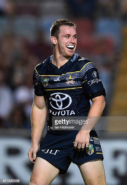 Michael Morgan of the Cowboys celebrates after scoring a try during the round seven NRL match between the North Queensland Cowboys and the South...