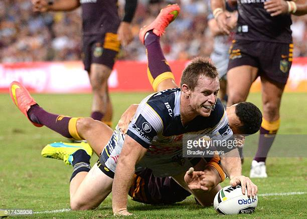 Michael Morgan of the Cowboys has this try disallowed during the round four NRL match between the Brisbane Broncos and the North Queensland Cowboys...