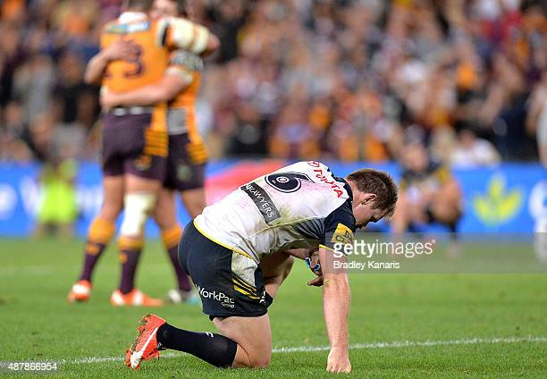Michael Morgan of the Cowboys is dejected after his team loses the NRL Qualifying Final match between the Brisbane Broncos and the North Queensland...