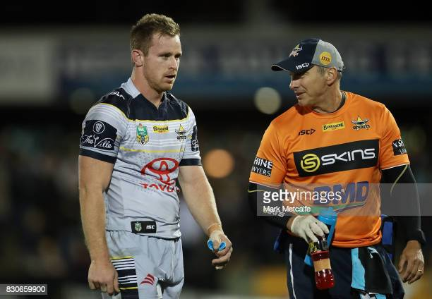 Michael Morgan of the Cowboys is taken from the field for a head injury assesment during the round 23 NRL match between the Penrith Panthers and the...