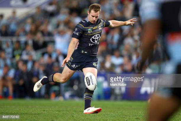 Michael Morgan of the Cowboys kicks a field goal during the NRL Elimination Final match between the Cronulla Sharks and the North Queensland Cowboys...