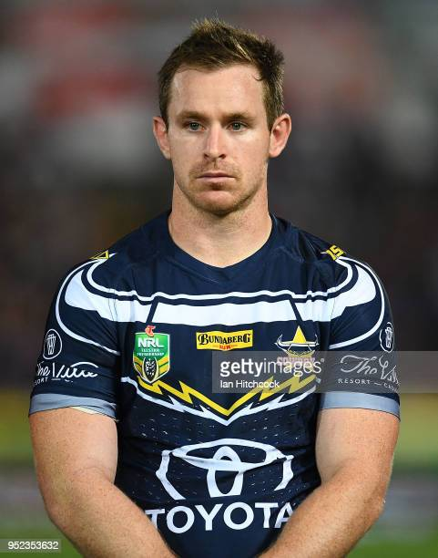 Michael Morgan of the Cowboys looks on before the start of the round eight NRL match between the North Queensland Cowboys and the Canberra Raiders at...