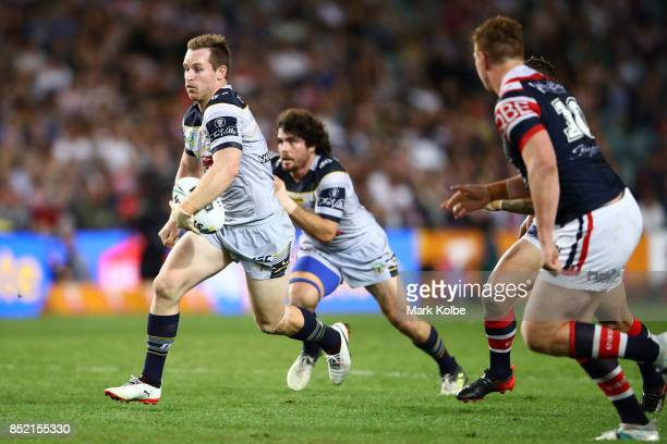 Michael Morgan of the Cowboys makes a break during the NRL Preliminary Final match between the Sydney Roosters and the North Queensland Cowboys at...