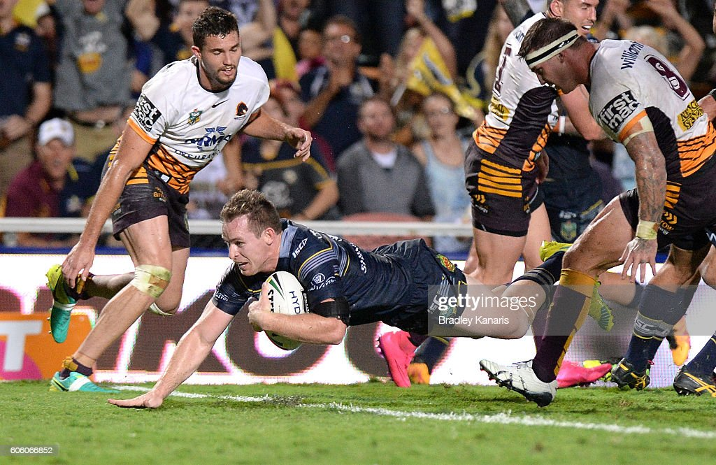 Michael Morgan of the Cowboys scores a try during the first NRL semi final between North Queensland Cowboys and Brisbane Brisbane at 1300SMILES Stadium on September 16, 2016 in Townsville, Australia.