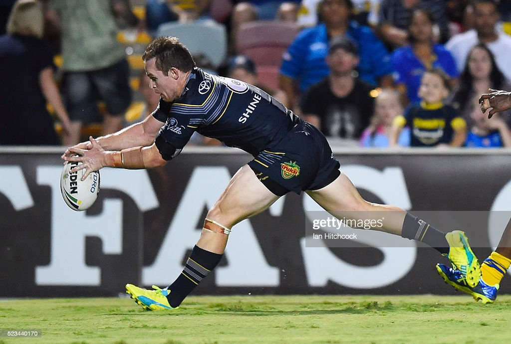 Michael Morgan of the Cowboys scores a try during the round eight NRL match between the North Queensland Cowboys and the Parramatta Eels at 1300SMILES Stadium on April 23, 2016 in Townsville, Australia.