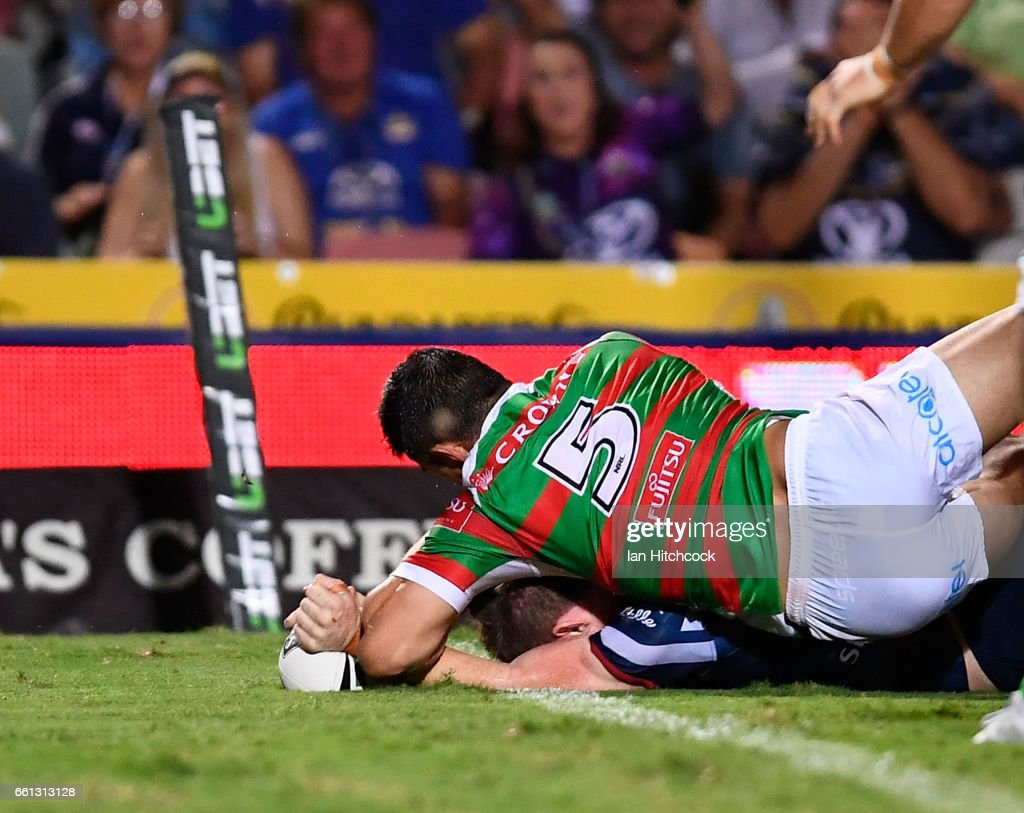Michael Morgan of the Cowboys scores a try during the round five NRL match between the North Queensland Cowboys and the South Sydney Rabbitohs at 1300SMILES Stadium on March 31, 2017 in Townsville, Australia.
