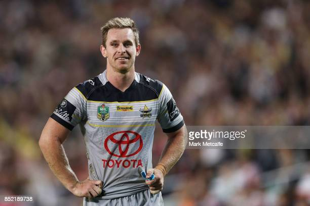 Michael Morgan of the Cowboys smiles after victory in the NRL Preliminary Final match between the Sydney Roosters and the North Queensland Cowboys at...