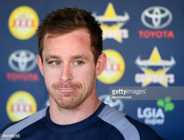 Michael Morgan of the Cowboys speaks to the media during a North Queensland Cowboys NRL media opportunity at Cowboys HQ on September 25 2017 in...