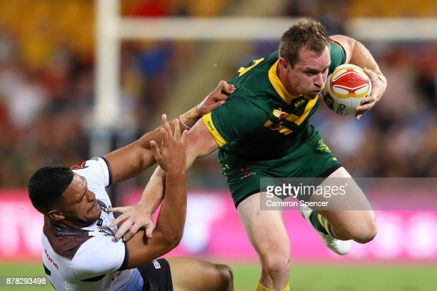 Michael Morgan of the Kangaroos makes a break during the 2017 Rugby League World Cup Semi Final match between the Australian Kangaroos and Fiji at...
