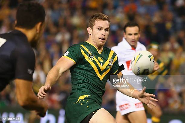 Michael Morgan of the Kangaroos watches the ball during the International Rugby League Trans Tasman Test match between the Australian Kangaroos and...