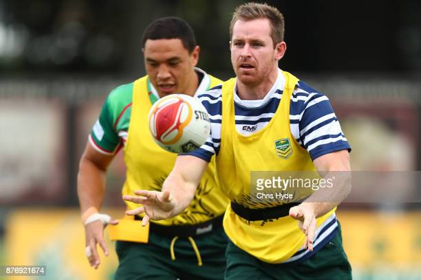 Michael Morgan passes during an Australian Kangaroos Rugby League World Cup training session at Langlands Park on November 21 2017 in Brisbane...