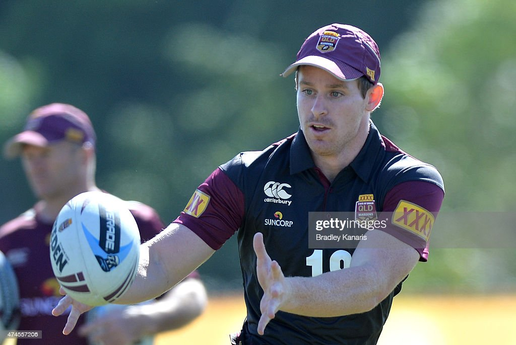 Michael Morgan passes the ball during the Queensland Maroons State of Origin training session at Sanctuary Cove on May 24, 2015 in Brisbane, Australia.