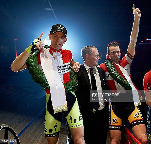 Michael Morkov and Alex Rasmussen of Denmark celebrate after the Copenhagen Six Days Cycling Race at Ballerup Super Arena on February 3 2015 in...