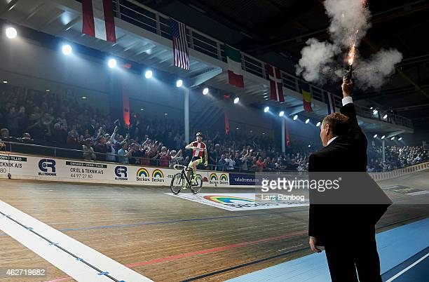 Michael Morkov of Denmark celebrate with race director Michael Sandstod at the finish line after the Copenhagen Six Days Cycling Race at Ballerup...