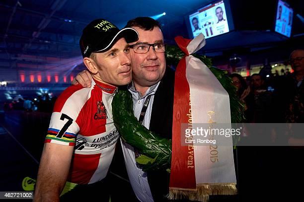 Michael Morkov of Denmark celebrate with sponsor Kim Hansen of Kundbak Hansen after the Copenhagen Six Days Cycling Race at Ballerup Super Arena on...